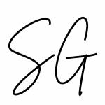 Logo: Initialien SG von Sarah Gawlik Korrektorin und Virtuelle Assistentin Sarah und Meer
